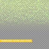 Light effect green texture glowing rain of confetti. Glitter particles shining stars. Christmas background Bright design element. Xmas decoration luxury vector illustration