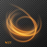 Light effect line gold vector circle. Glowing light fire ring trace. Glitter magic sparkle swirl trail effect on Royalty Free Stock Photo