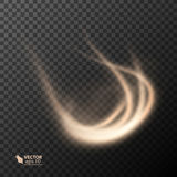 Light effect line gold vector circle. Glowing light fire ring trace. Glitter magic sparkle swirl trail effect on Stock Photo