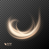 Light effect line gold vector circle. Glowing light fire ring trace. Glitter magic sparkle swirl trail effect on Royalty Free Stock Photos