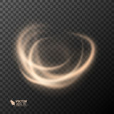 Light effect line gold vector circle. Glowing light fire ring trace. Glitter magic sparkle swirl trail effect on Royalty Free Stock Photography