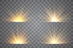 Light effect stars bursts. Sunrise, dawn. stock illustration