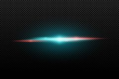 Light effect on a transparent background. Horizontal red an blue flash. Multicolored flares. Blue rays. Vector illustration. EPS 10 vector illustration