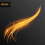 Light Effect vector transparent with line swirl and golden sparkles. Light Effect vector transparent with glowing line swirl and golden sparkles vector illustration