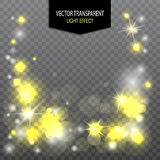 Light effect with white and yellow glitter on a transparent background. Vector royalty free illustration