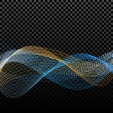 Light effects. Abstract discrete waves of golden and blue. Harmonics. On a checker background. illustration Stock Images