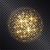 Light Effects of Burning Sparklers on Transparent. Light effects of burning sparklers in radiant circle with yellow glitter on dark transparent background vector Stock Photos