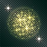 Light Effects of Burning Sparklers on Transparent. Light effects of burning sparklers in radiant circle with yellow glitter on dark transparent background vector Stock Image