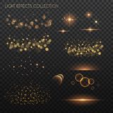 Light effects collection. Copper lights effects. Sparkle and glitter. Vector