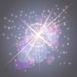 Sparks glitter glowing - star burst glow with lens flare isolated on transparent backdrop.Light effects decorations for royalty free illustration
