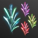 Light Effects Fireworks Transparent Composition. Icon set with splashes stars and sparkles vector illustration Royalty Free Stock Image