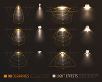 Light Effects Infographics. With bulbs, lampshades and schemes measurements of illumination intensity on transparent background vector illustration Royalty Free Stock Image