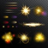 Light Effects Magic Set. With illuminated sparkling flashing and glowing elements on dark background  vector illustration Royalty Free Stock Image