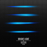 Light effects. Rays of blue color on a transparent background. Footage for photos and videos. Bright flashes of light. Vector illustration Royalty Free Stock Images