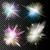 Light effects set. Vector magic effect with radial Stock Photo