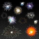 Light effects set. Vector magic effect with radial. Blur and bokeh. Collection fireworks for holiday Stock Photos