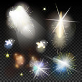 Light effects set. Vector magic effect with radial. Blur and bokeh. Collection fireworks for holiday Stock Photo