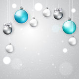 Light elegant Christmas background. With hanging decorative blue, white and silver balls; vector Royalty Free Stock Images