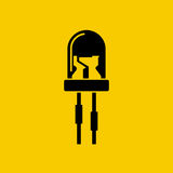 Light emitting diode. Light-emitting diode isolated icon. LED black silhouette on yellow background. Vector illustration flat style design Royalty Free Stock Photography