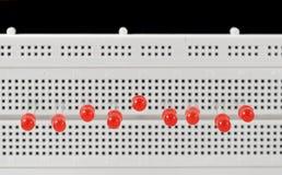 LEDs. Light emitting diodes on breadboard Royalty Free Stock Image