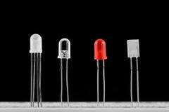 LEDs. Light emitting diodes on breadboard stock images