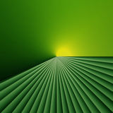 Light at the end of green fields. Background abstract or technical design of green lines and yellow light and at the horizon and lots of copyspace Stock Photo