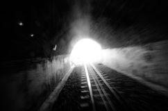 Train tunnle. Light in the end of a train tunnle Stock Images