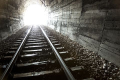Light at end of Tunnel. Escape, freedom, concept stock photo