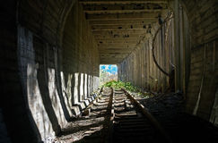 Light in  end of  tunnel Royalty Free Stock Photo
