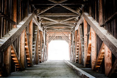 Light at the End of the Tunnel. Wawona Covered Bridge, Yosemite National Park Stock Image