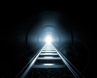 Light at the End of the Tunnel. A railroad tunnel with a light at the end - 3D illustration Royalty Free Stock Photography