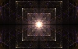Light in the end of a tunnel. Abstract illustration fractal glowing squares converging to the center with light radiating from the middle of cololines stock illustration