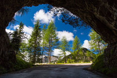 Light at the end of the tunnel. Panoramic view at the end of the tunnel Royalty Free Stock Photos