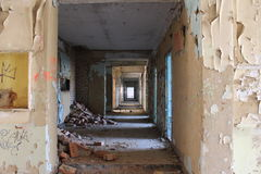 Light at end of tunnel. The ruins of the hotel, abandoned hotel, emptiness, silence, forgotten place, architecture, ruins, house and attractions royalty free stock photos