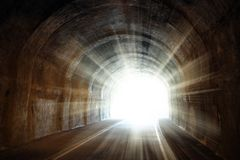 Light at the end of the tunnel. Shining light at the end of the tunnel royalty free stock photo