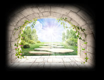 Light at the end of tunnel. Shining light at the end of dark tunnel royalty free illustration