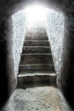 Light at the end of the tunnel. Tomb, salvation Stock Image