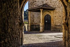 Light at the end of the tunnel. Walled town of Buitrago de Lozoya. royalty free stock photography