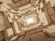 Light at end of tunnel. Wood deep tunnel with light at the end Royalty Free Stock Photos