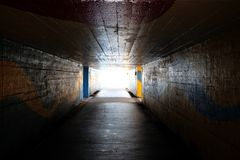 Light at the end of the underpass or tunnel - the symbol of near. Of success Royalty Free Stock Photo