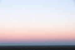 Light evening sky with pink afterglow and fog. In gradient pastel colors Stock Photo