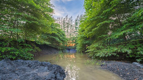 Light evening after sunset, Watercourse.  Royalty Free Stock Image
