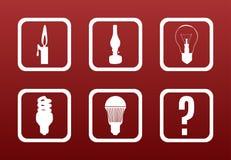 Light Evo. Light equipment evolution concept: white icons on dark red gradient backgrond show the evolution of room lighting equipment Royalty Free Stock Photo