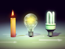 Light evolution. From candle to energy saving bulb: the evolution of light. Digital illustration Royalty Free Stock Photo