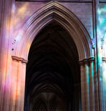 Light falling in gothic cathedral Stock Images