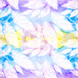 Light feathers, large and small on a watercolor background Royalty Free Stock Images