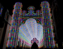 Light Festival, Ghent. Ghent, Belgium, January 29th, 2012: One of the beautiful installations Luminarie De Cagna at the second Festival of Lights Stock Image