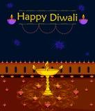 Light festival of India Happy Diwali celebration background. In vector Stock Photo