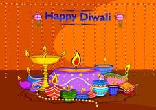 Light festival of India Happy Diwali celebration background. In vector Stock Photos