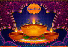 Light festival of India Happy Diwali celebration background. In vector Stock Photos